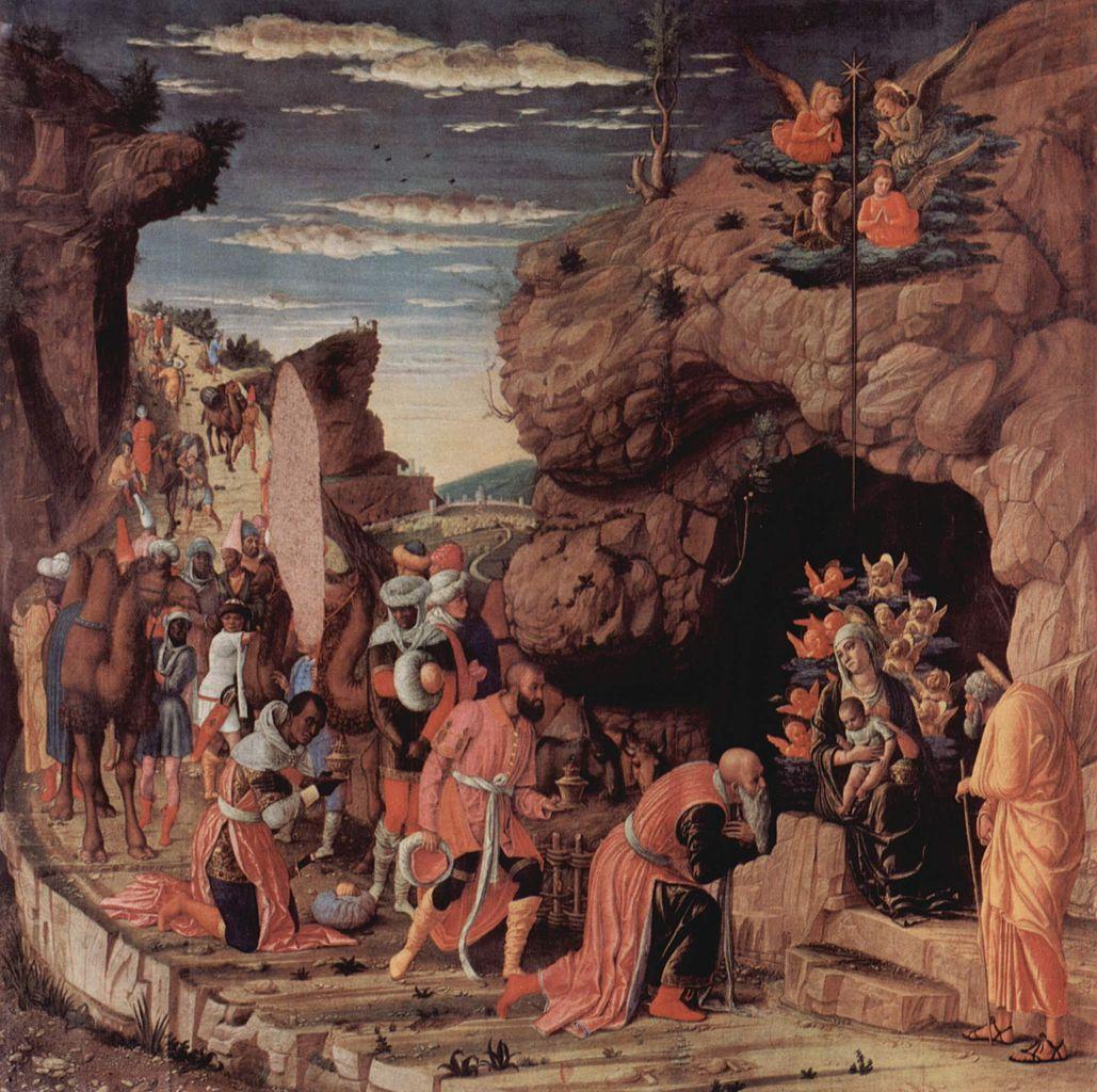 Adoración de los reyes magos. Andrea Mantegna, ca. 1460.