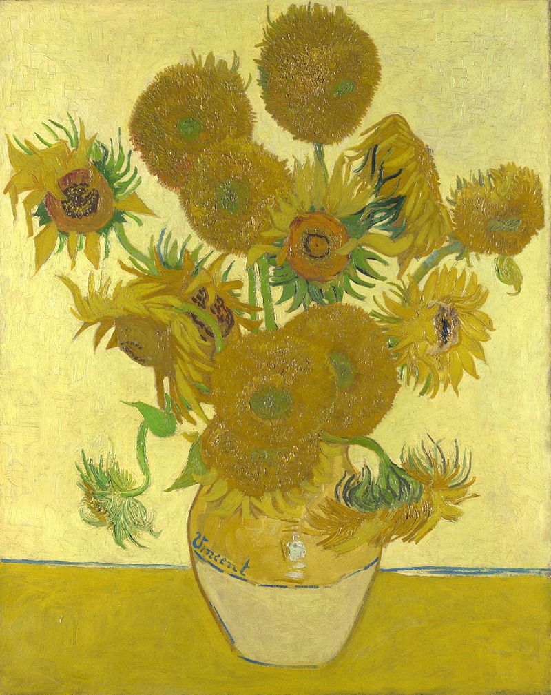 Jarrón con catorce girasoles. Vincent Van Gogh, 1888.