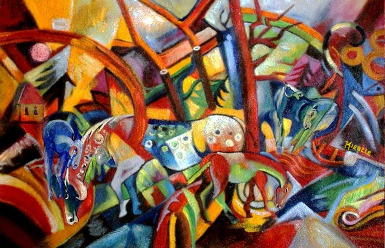 Cuadro rojo con caballos (según Campendonk). Wolfgang Beltracchi, ca. 2000.