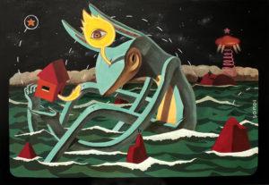 """""""Virgilio del mar"""" Acrílico y óleo sobre tela, 100x70cm 2012"""